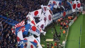 日本代表を応援するサポーター達