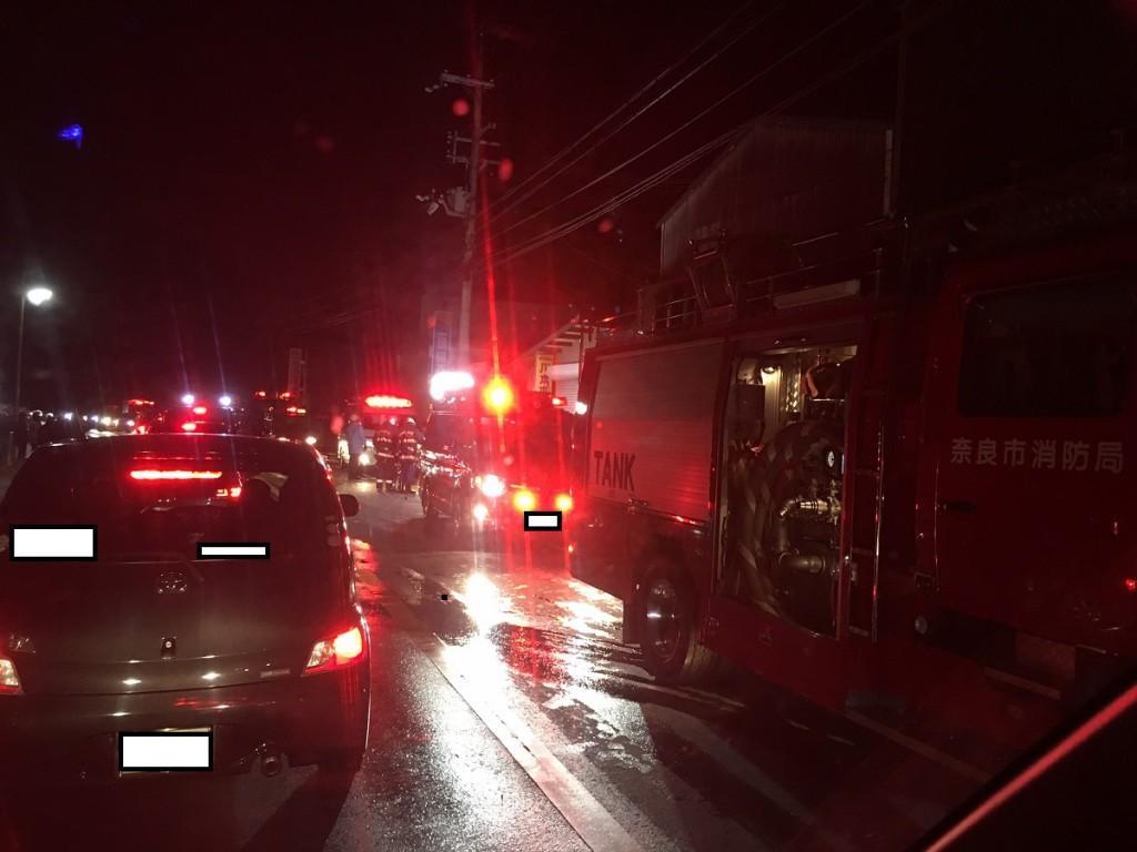 火事で大渋滞・・・