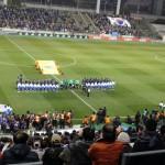 日本vs韓国の試合前の整列