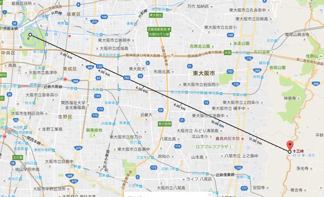 信貴生駒スカイラインの十三峠から大阪城天守閣までの直線距離は13.7Km