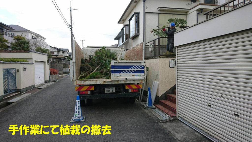 手作業で植栽の撤去と運び出し