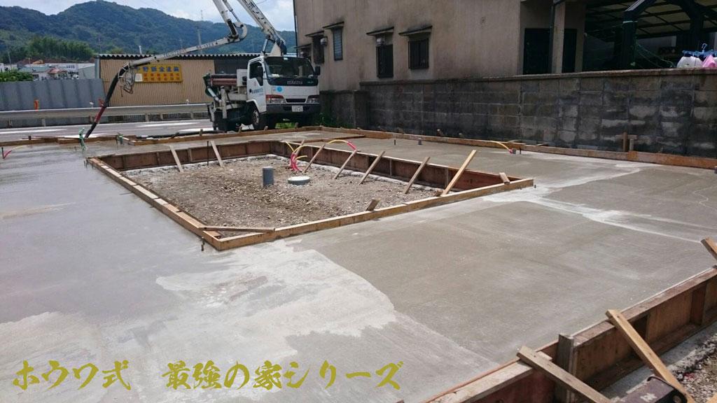 コンテナハウス用基礎コンクリート打設