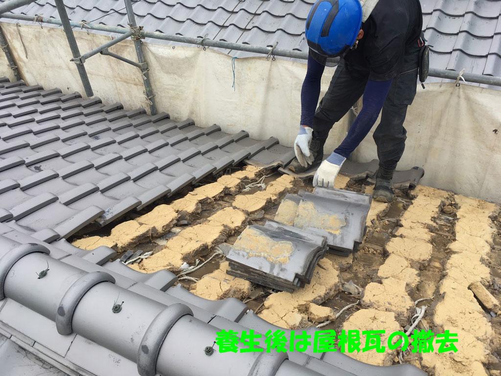 養生と屋根瓦の撤去