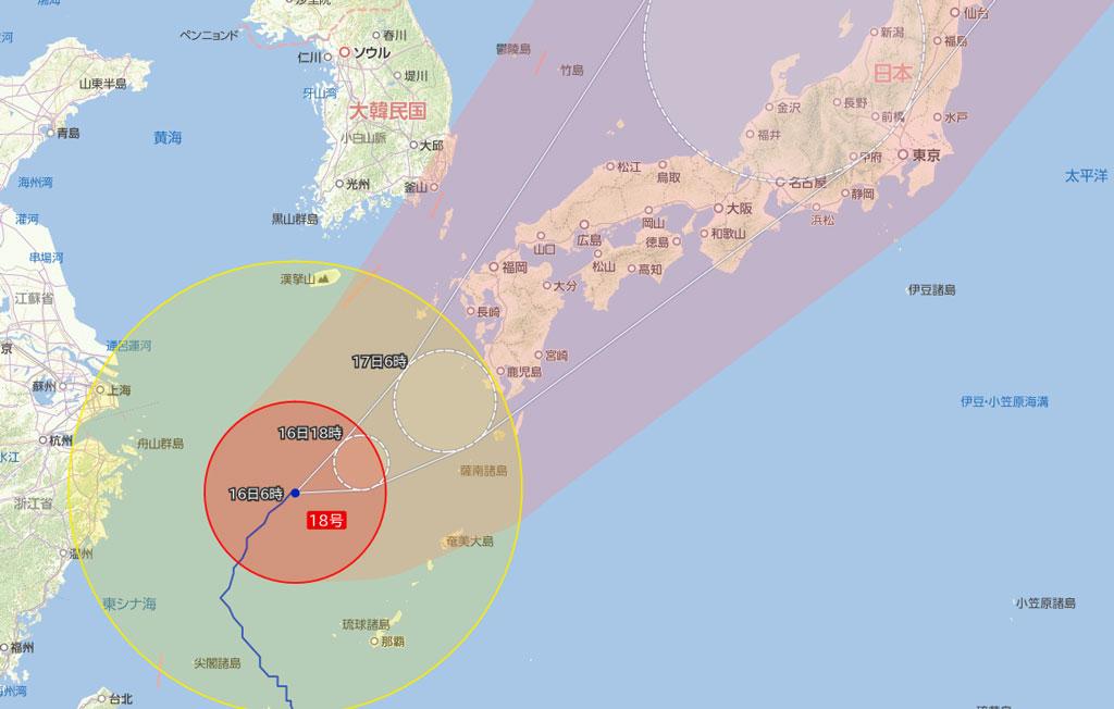 大型で非常に強い台風第18号が接近中