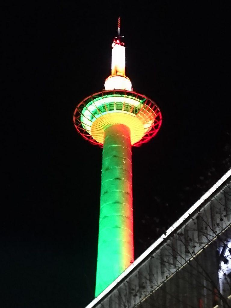 ライトアップされた京都タワー1