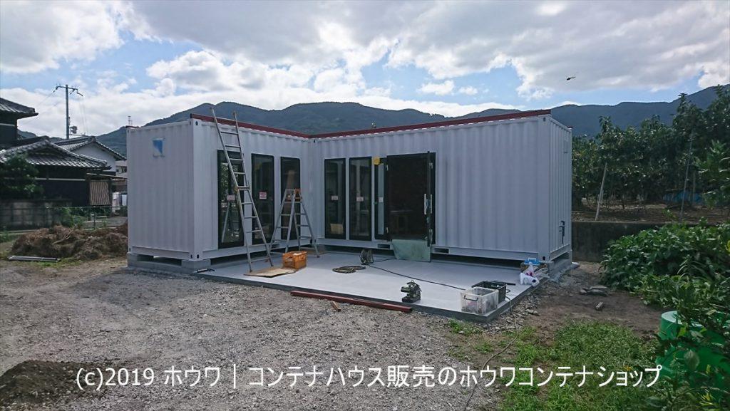 現在進行中!和歌山県かつらぎ町、20フィートコンテナ2台連結コーヒーショップ