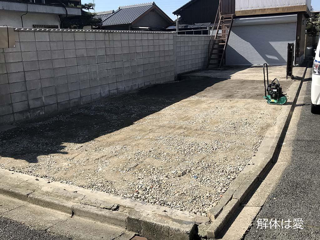 砕石敷き、駐車場づくり
