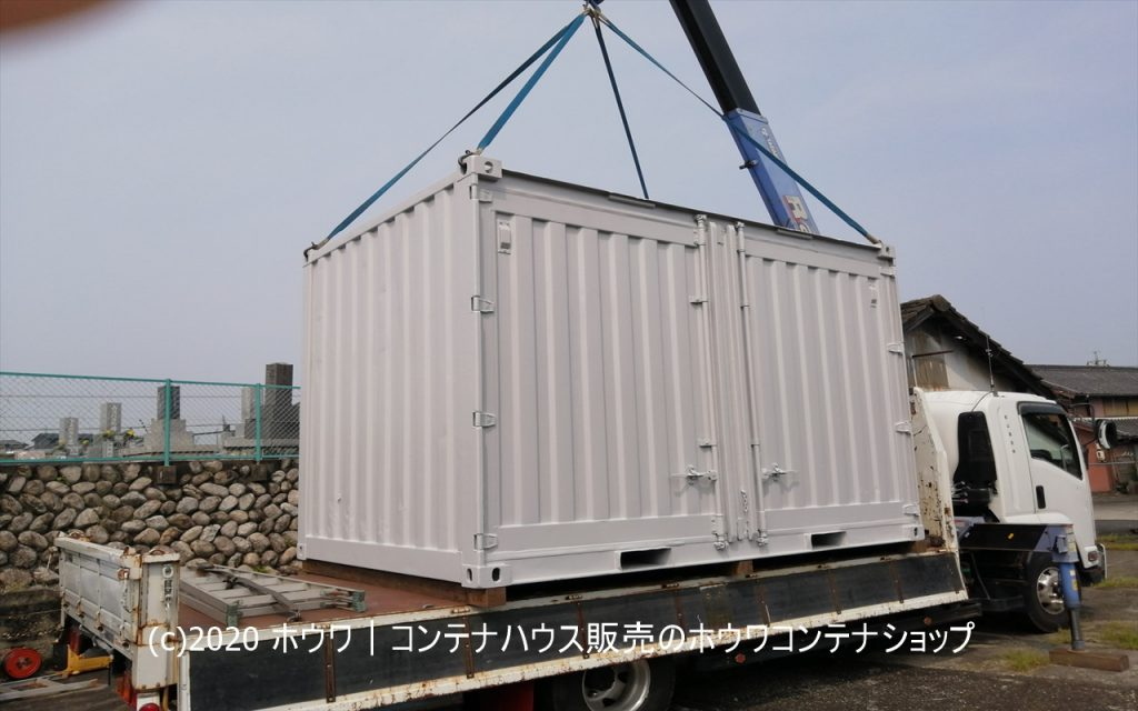 倉庫用12フィートコンテナ | 四日市市でコンクリート高さ増し設置
