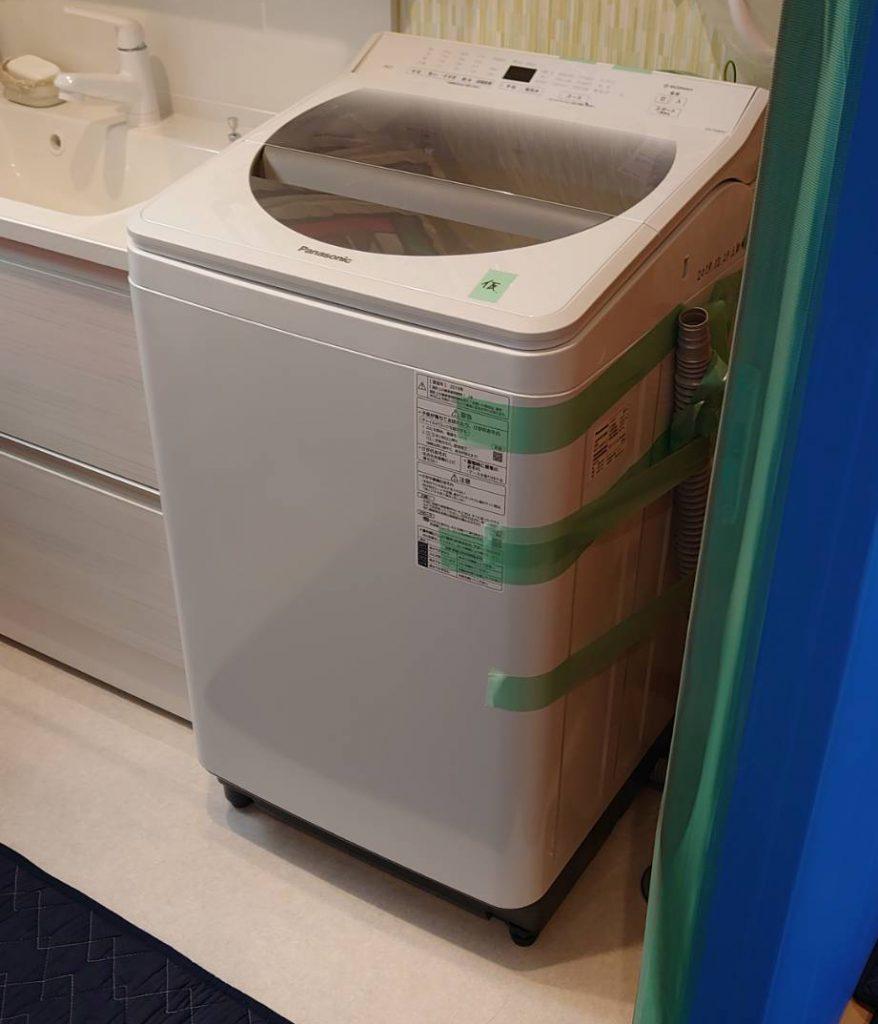 ご新居にて洗濯機の設置完了。